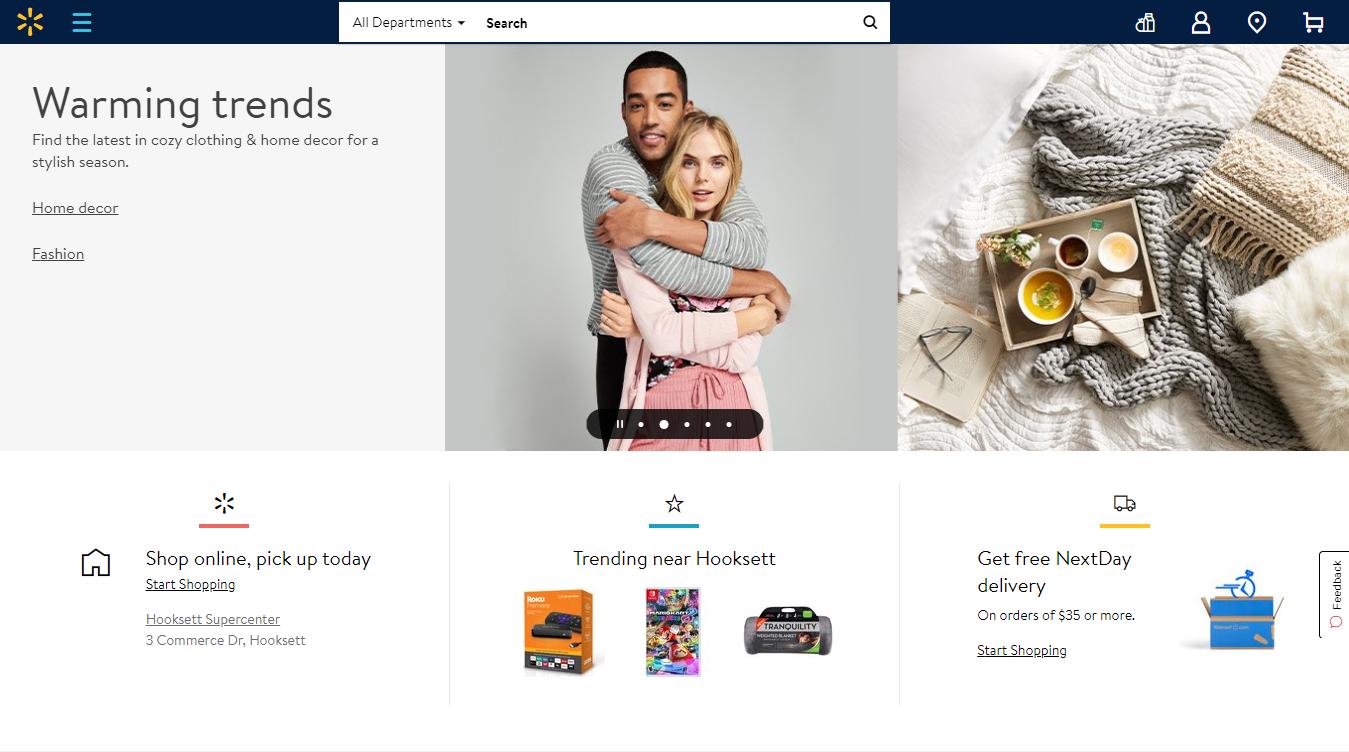 The Walmart Homepage, January 2020