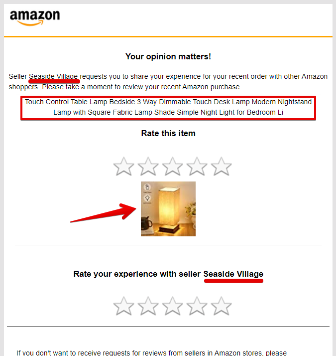 A screenshot showing what parts of an Amazon review request email are personalized
