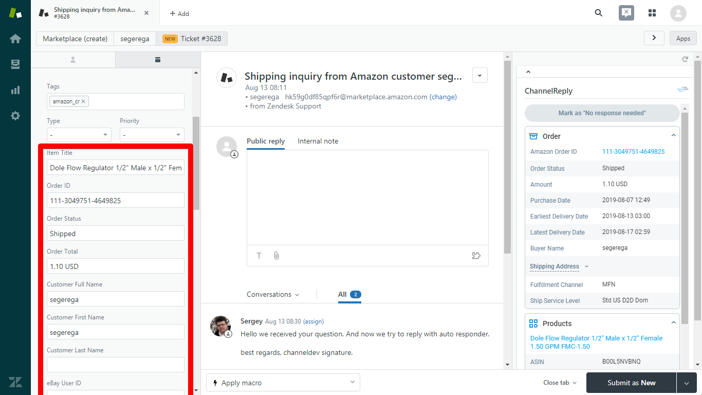 ChannelReply Custom Fields in the Zendesk Sidebar