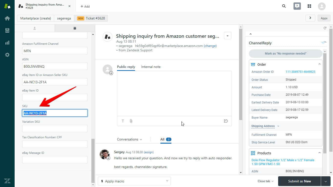 Amazon SKU in Zendesk