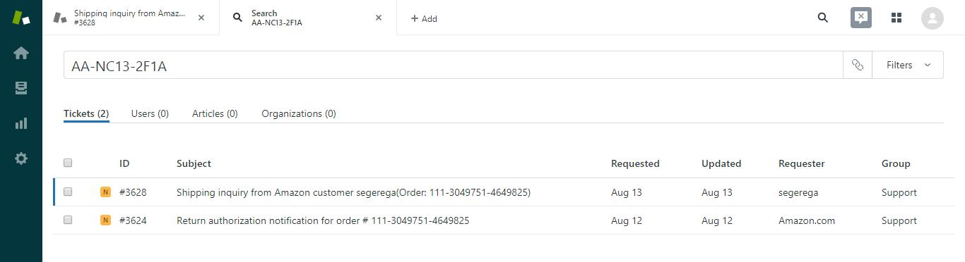 Searching by Amazon SKU in Zendesk