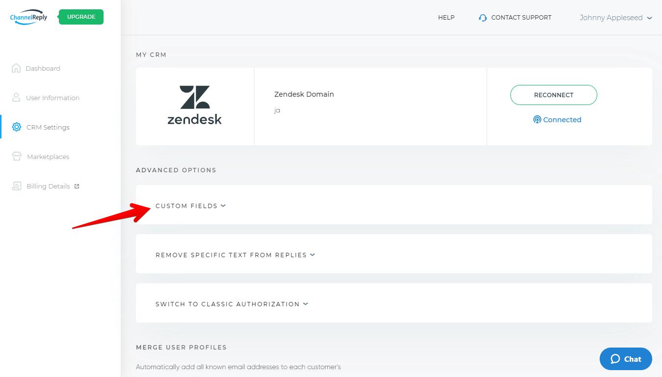 ChannelReply Custom Fields Menu Location for Zendesk