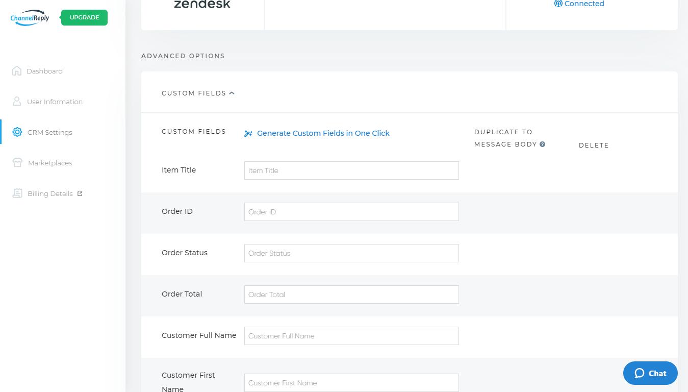 ChannelReply Custom Fields Interface for Zendesk