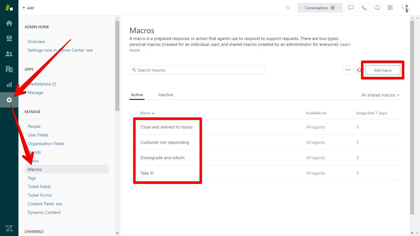 Create or Edit Zendesk Macro