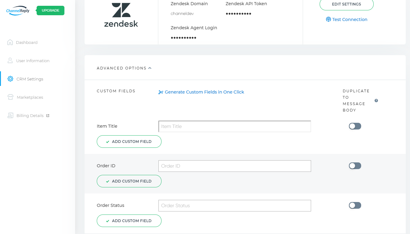 ChannelReply Custom Fields Interface for Zendesk