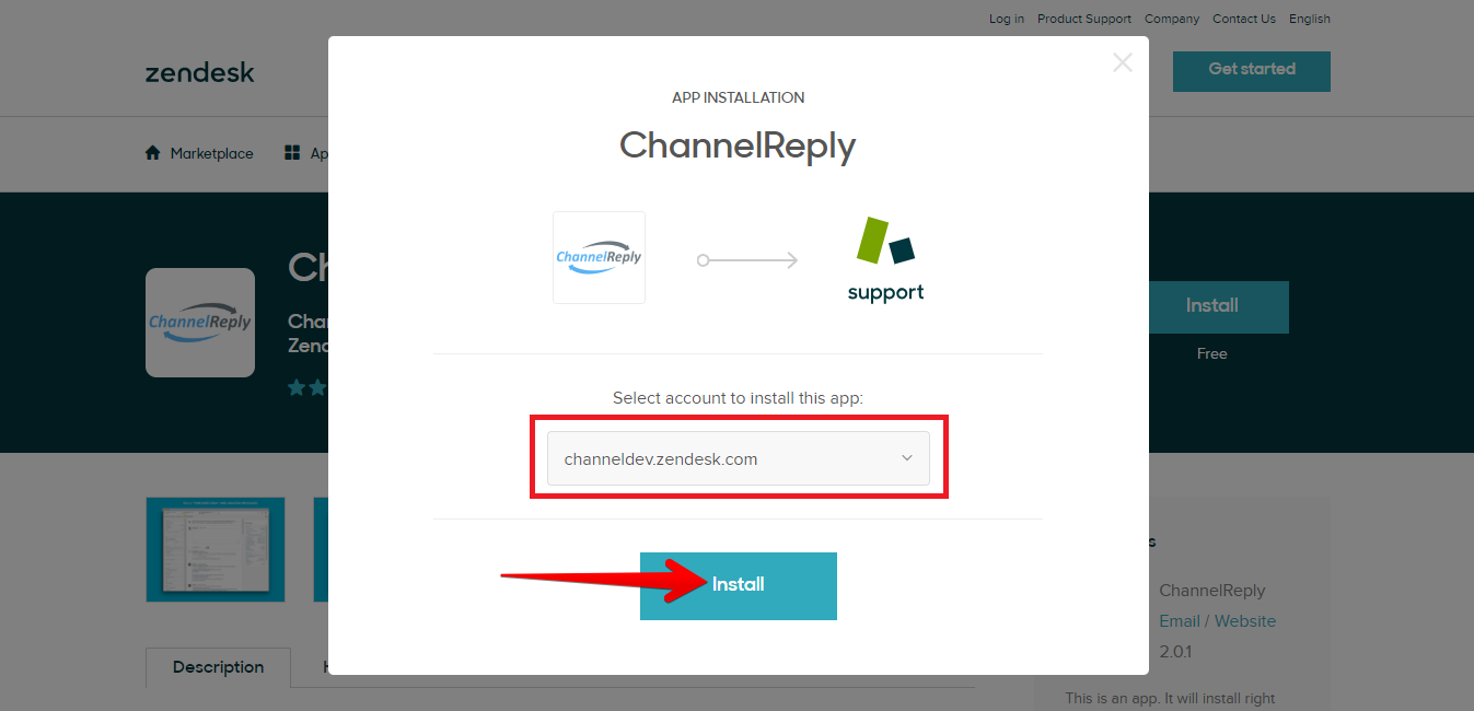 Choose Zendesk Account and Install ChannelReply