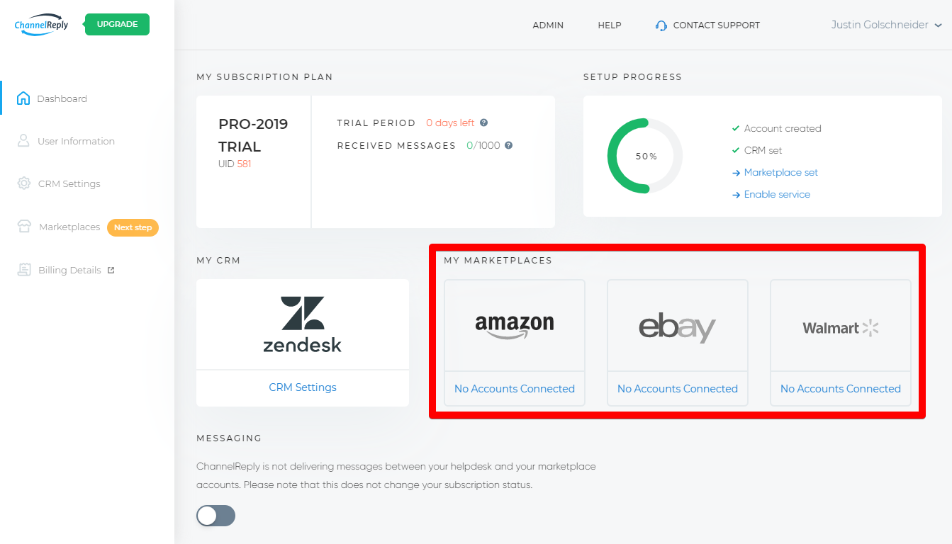 Integrate eBay, Amazon or Walmart with Zendesk from the ChannelReply Dashboard