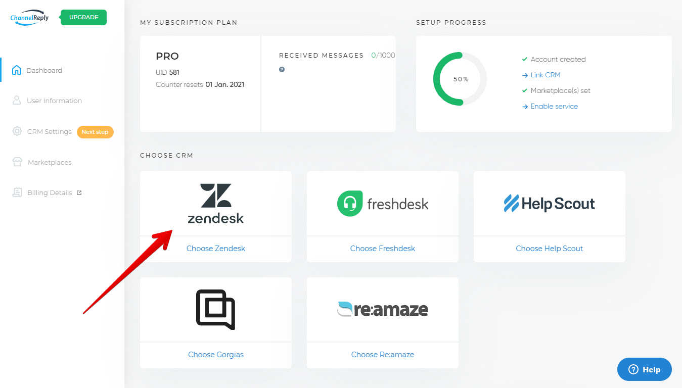 Select Zendesk from the Account Dashboard