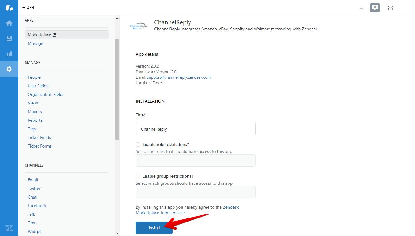 Install the ChannelReply App in Zendesk