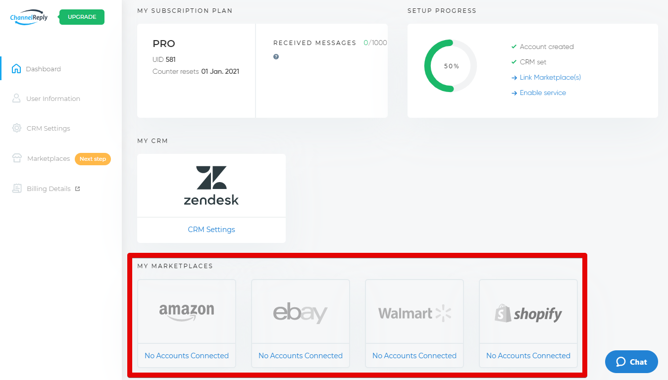 Integrate eBay, Amazon, Walmart or Shopify with Zendesk from the ChannelReply Dashboard