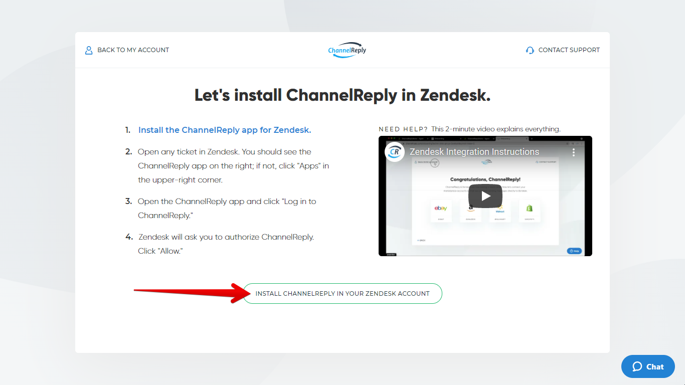Install ChannelReply in Your Zendesk Account Button