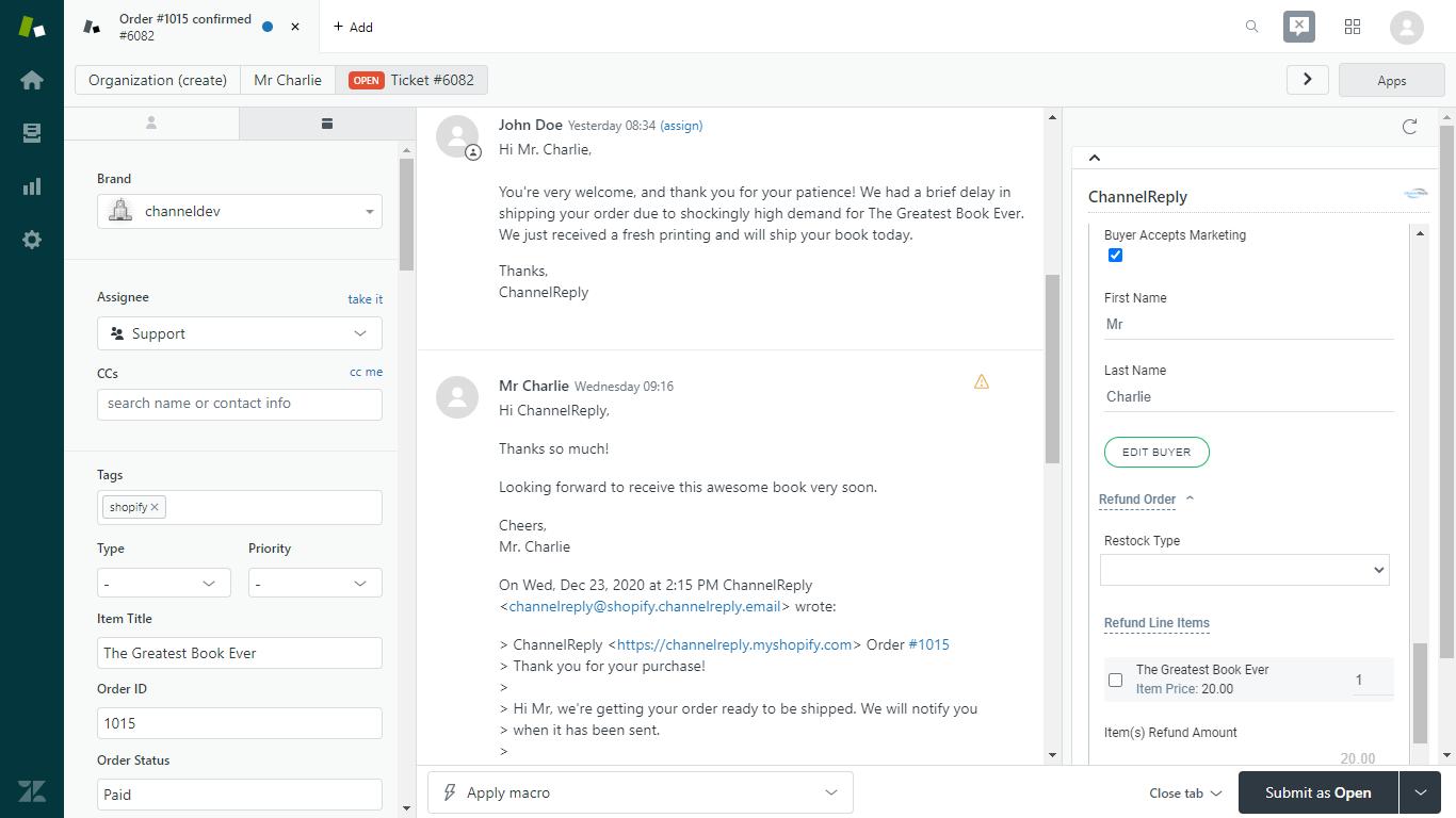 Refund Shopify Order in Zendesk