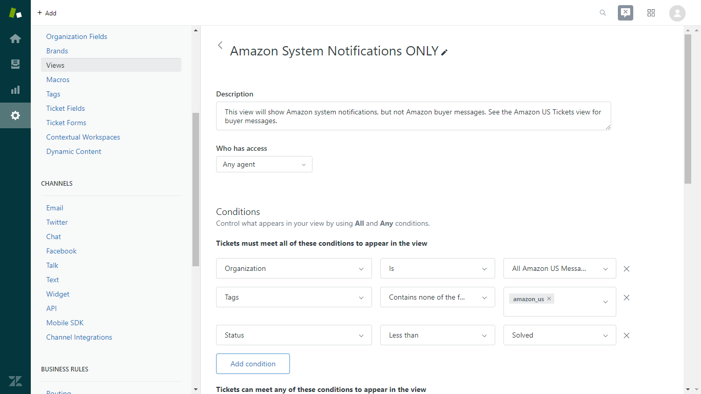 Zendesk Settings for an Amazon System Notifications Only View