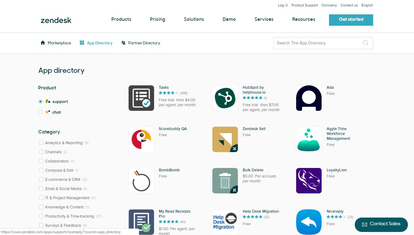 Zendesk App Directory, May 2019