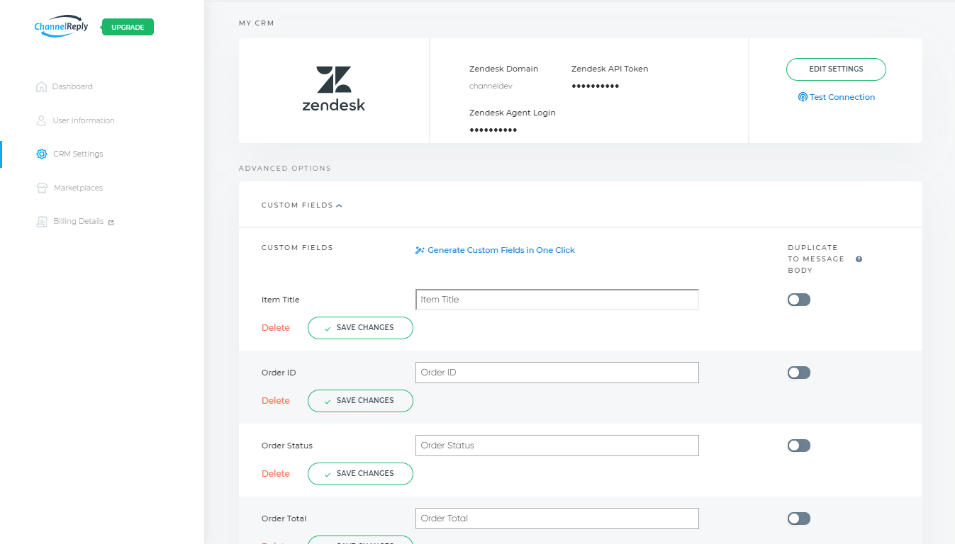 Zendesk Custom Fields Settings in ChannelReply