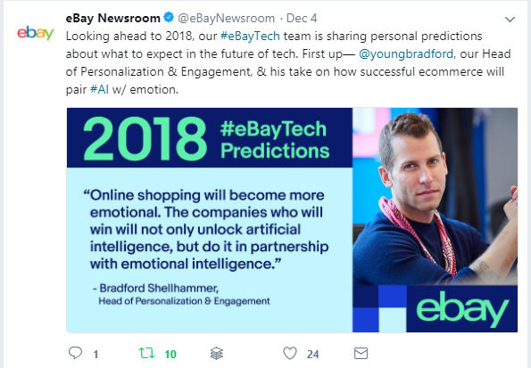 eBay AI Prediction by Bradford Shellhammer on Twitter