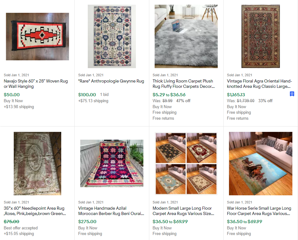 Completed Listings (Sold Items) for Area Rugs on eBay