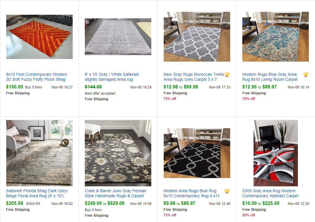 Completed Listings for Grey Area Rugs on eBay