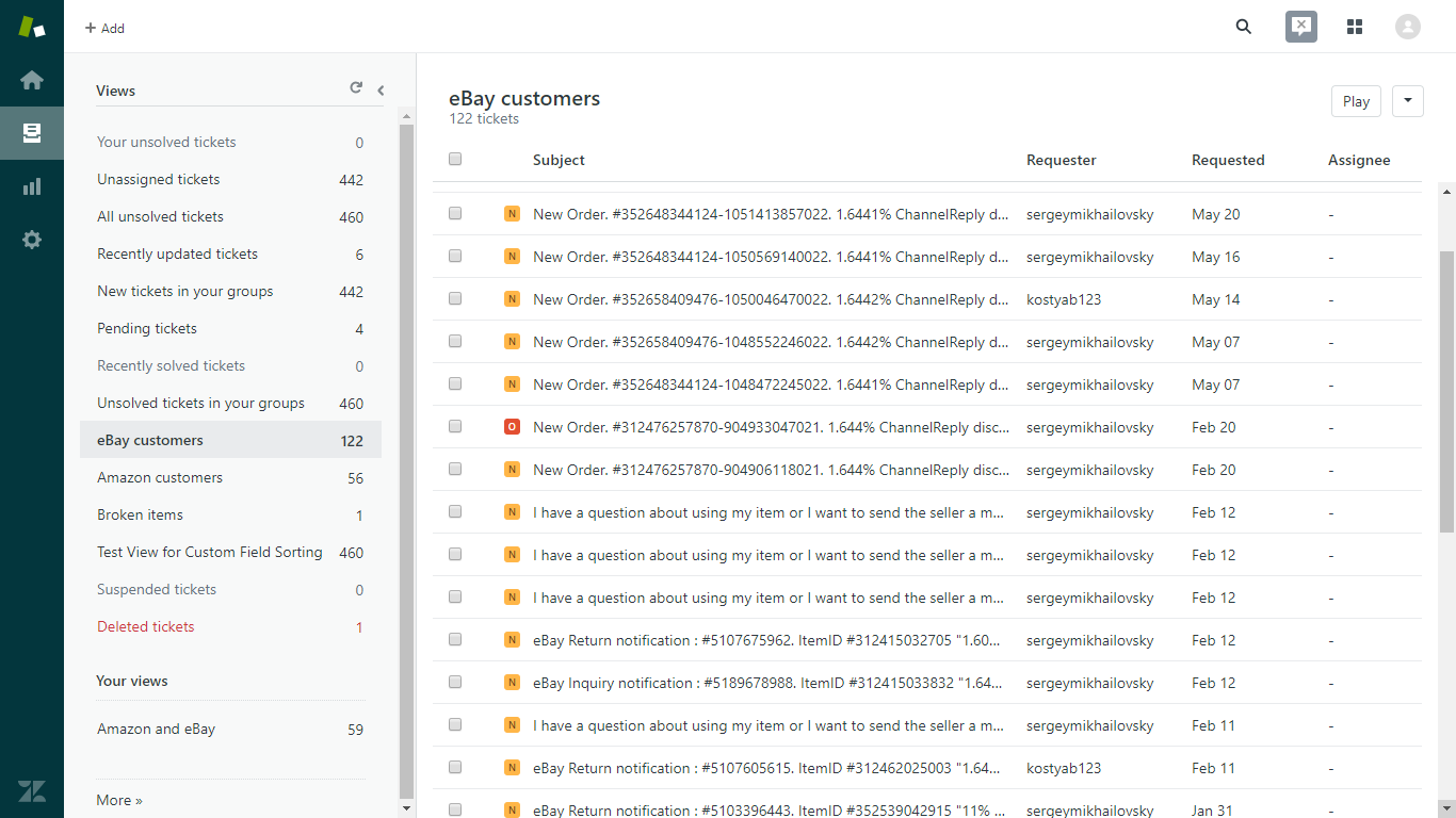 Zendesk View Showing Only eBay Messages