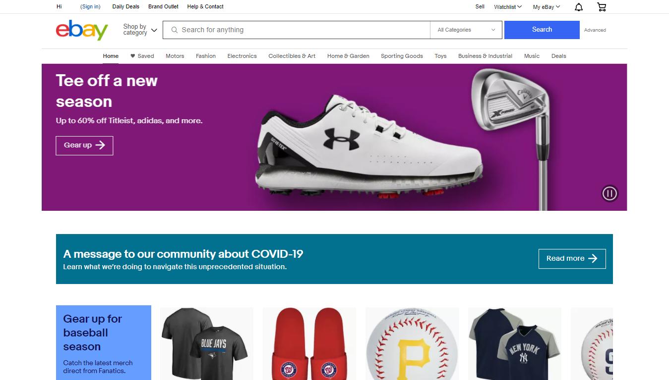 eBay Homepage, April 2021