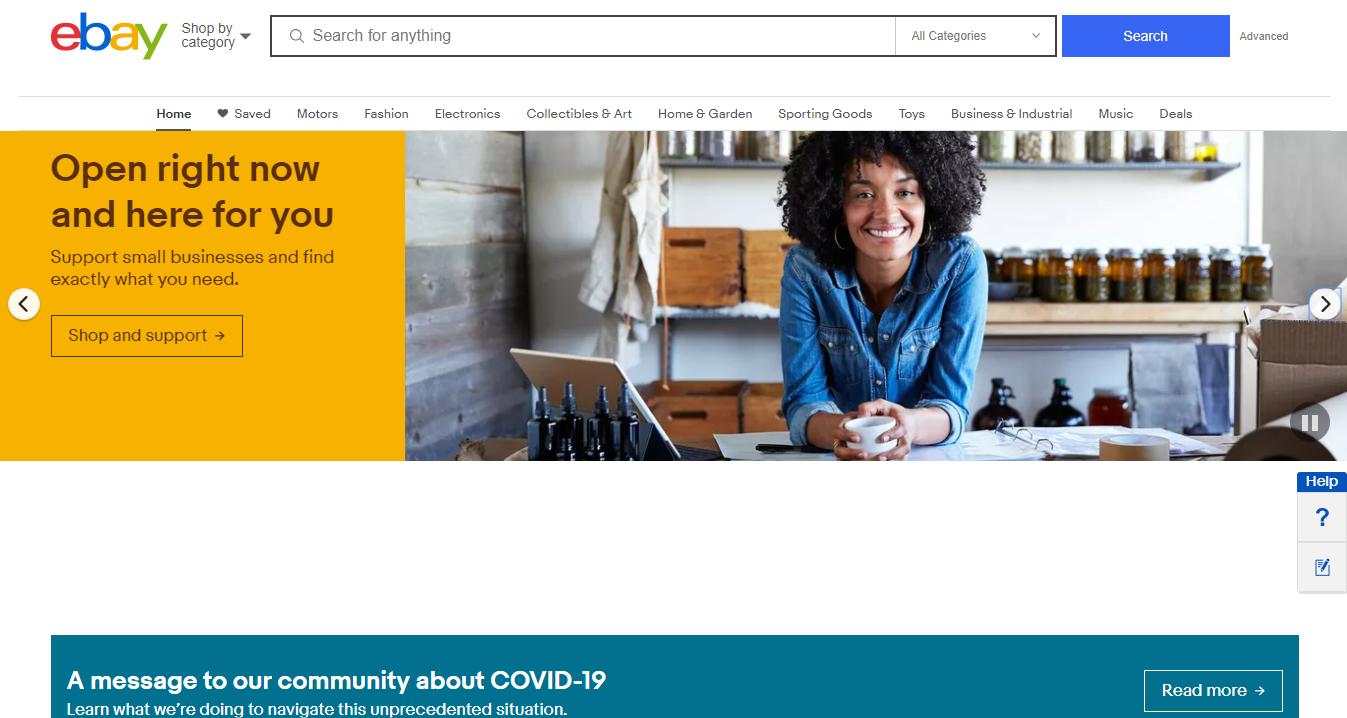 eBay's Homepage during the Coronavirus Pandemic
