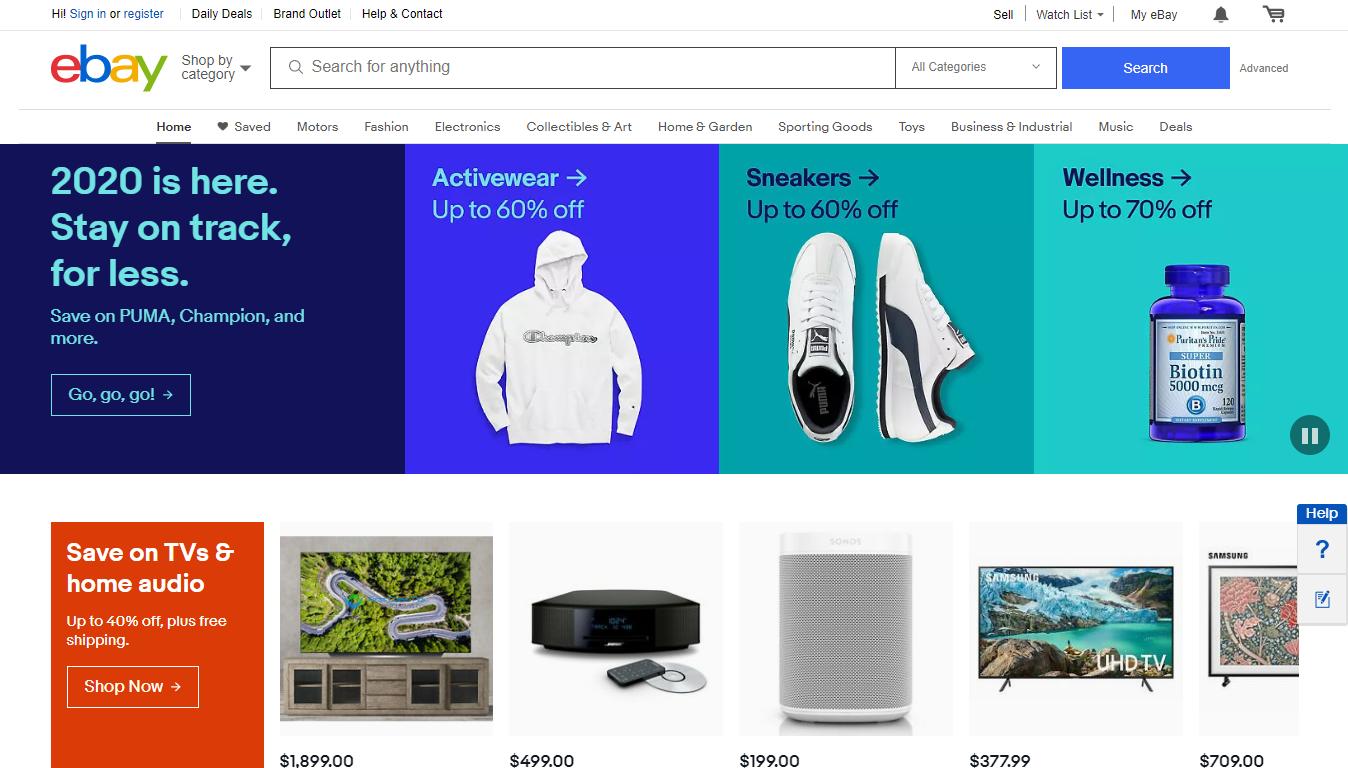 eBay Homepage, January 2020