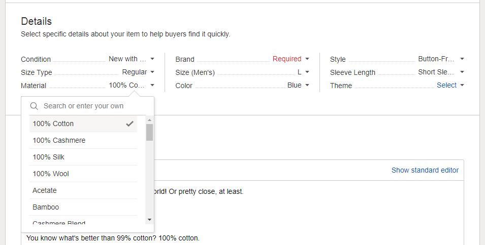 Selecting 100% Cotton in eBay Item Specifics