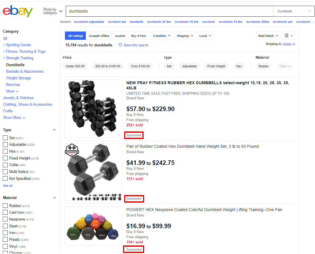 eBay Promoted Listings in Standard Search Results