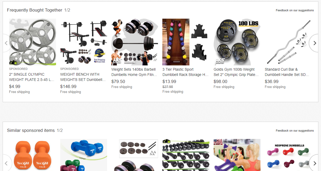 Sponsored Listings on an Item Page