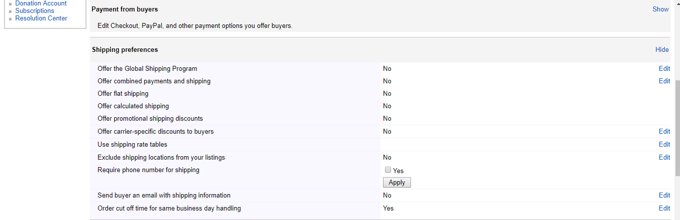 eBay Shipping Preferences