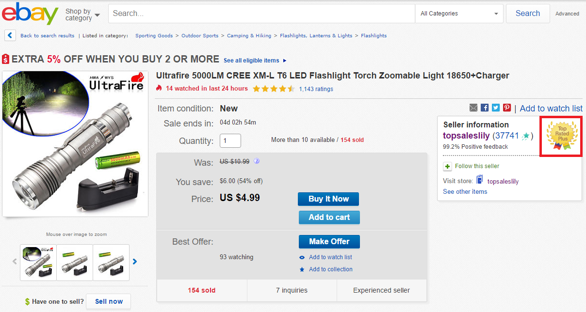 Top Rated Seller on eBay