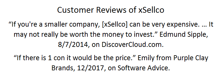 Price Complaints from Positive xSellco Reviews